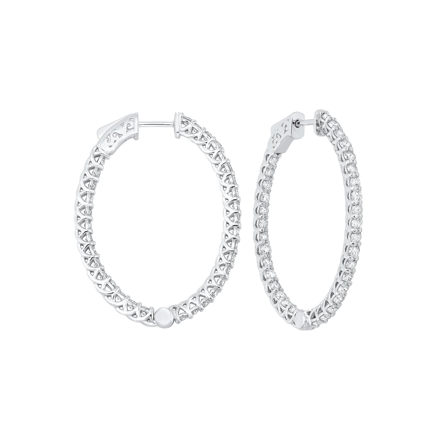 Delicate In-Out Diamond Hoop Earrings in 14K White Gold  (3 ct. tw.)