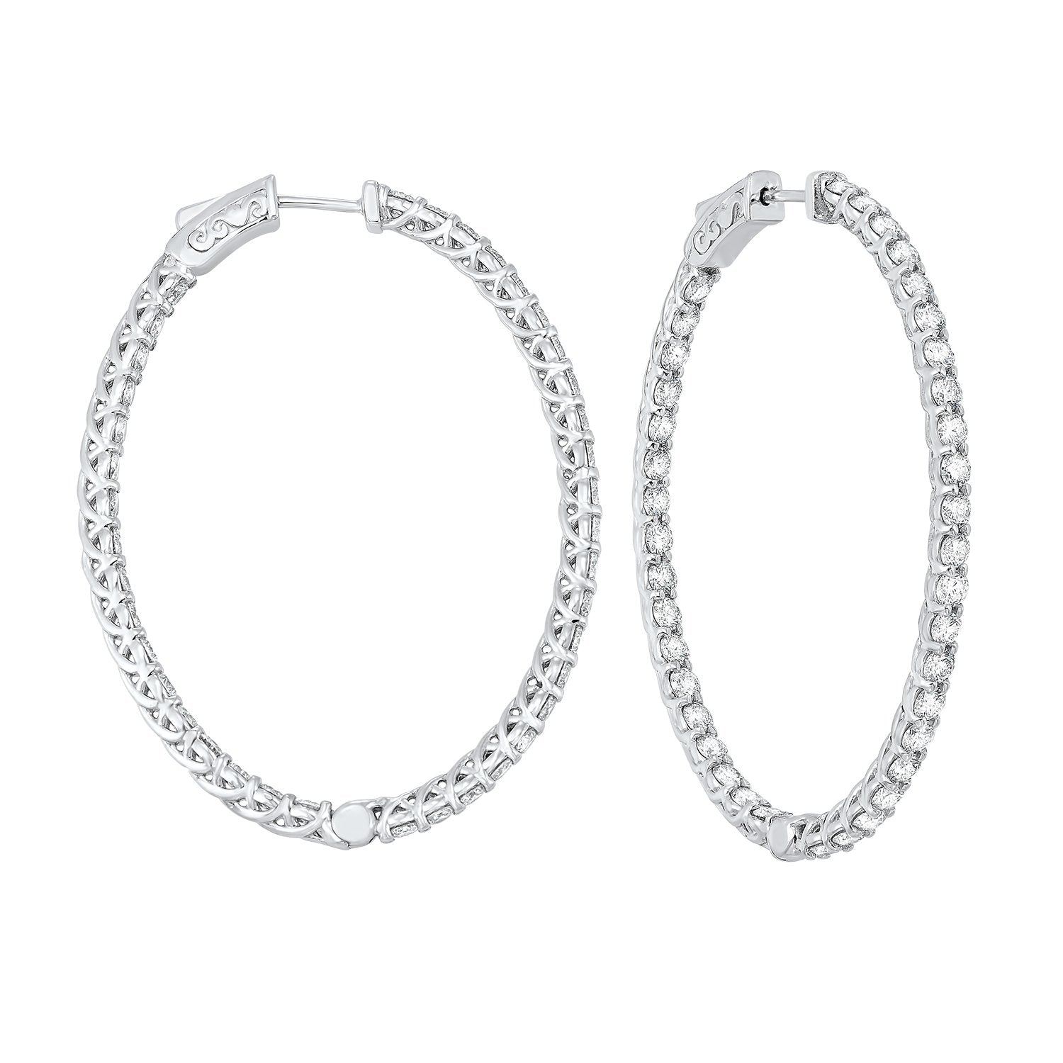 Delicate In-Out Diamond Hoop Earrings in 14K White Gold  (5 ct. tw.)