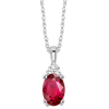 Oval Ruby & Diamond Halo Pendant in 14K White Gold (1/30 ct. tw.)
