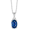 Oval Sapphire & Diamond Halo Pendant in 14K White Gold (1/30 ct. tw.)
