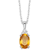 Oval Citrine & Diamond Halo Pendant in 14K White Gold (1/30 ct. tw.)