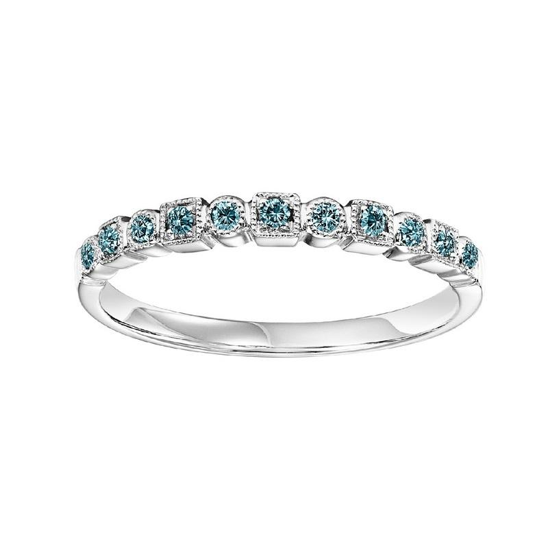 10K White Gold Stackable Prong Colored Diamond Band (1/10 ct. tw.)