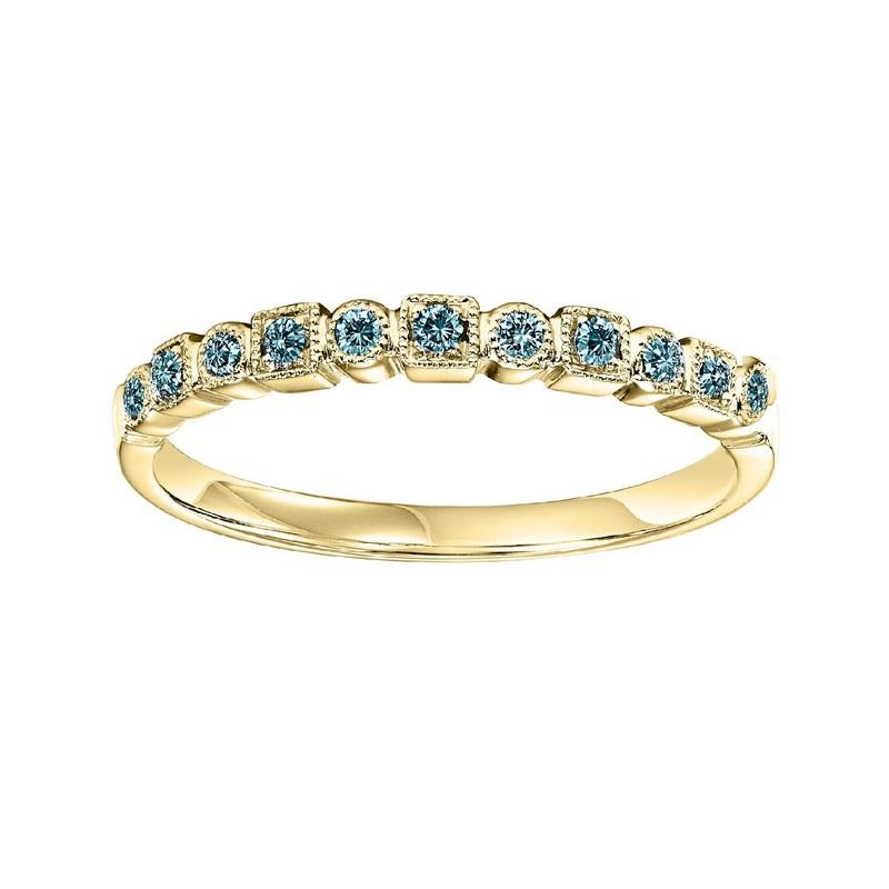 10K Yellow Gold Stackable Prong Colored Diamond Band (1/10 ct. tw.)