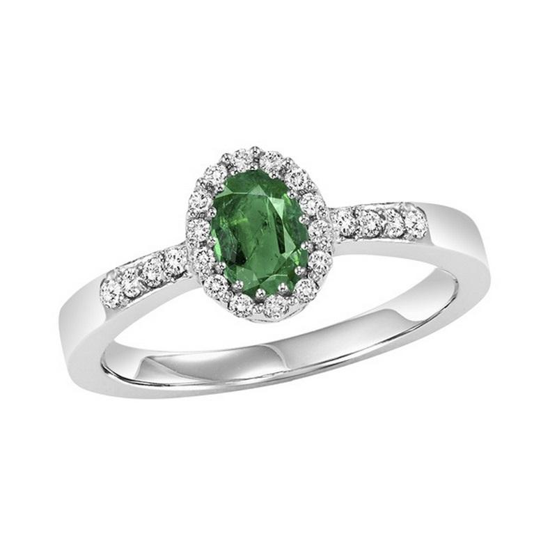 14K White Gold  Halo Prong Emerald Ring (1/8 ct. tw.)