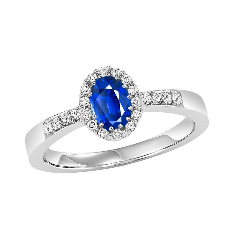 14K White Gold  Halo Prong Sapphire Ring (1/8 ct. tw.)