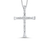 Shared Prong Cross Diamond Pendant in 14K White Gold  (3/8 ct. tw.)