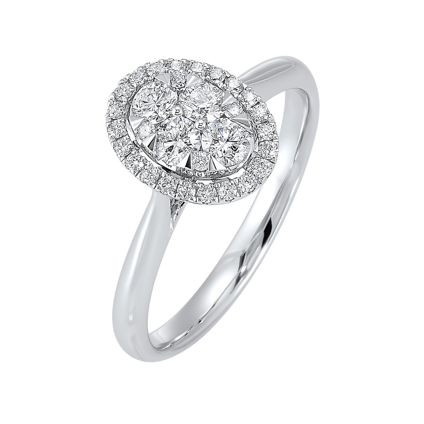 Oval Halo Diamond Engagement Ring in 14K White Gold (1/4 ct. tw.)