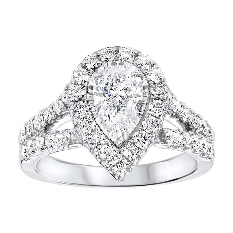 14K White Gold Tru-Reflections Pear Halo Prong Ring (1 1/2 ct. tw.)