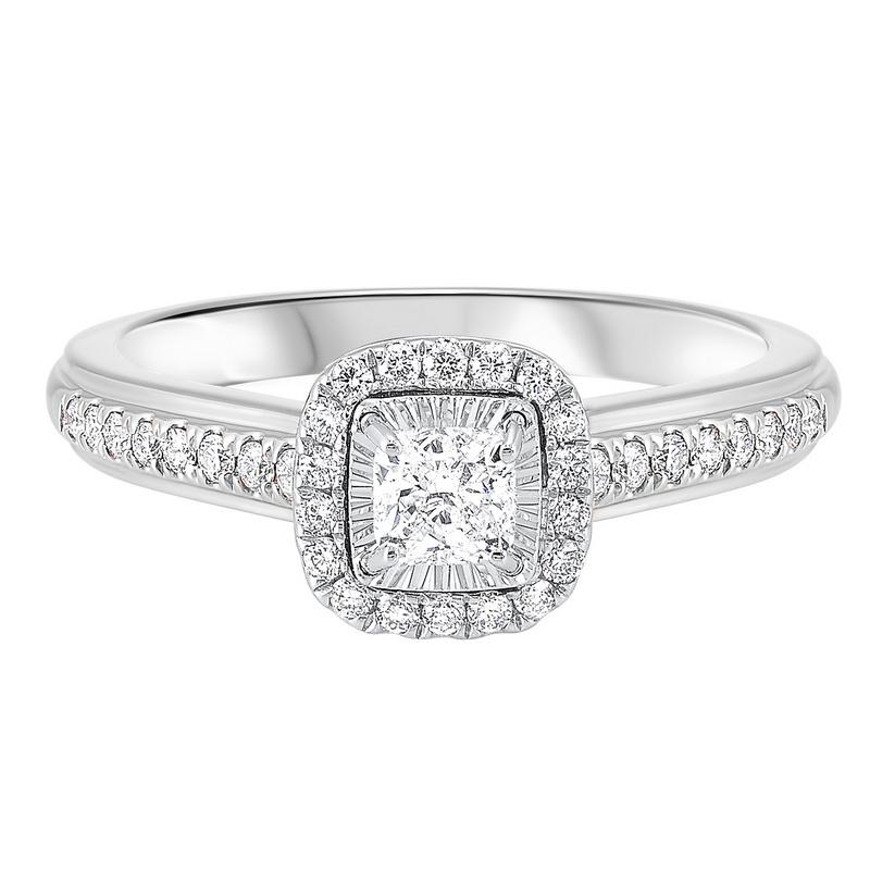 14K White Gold Tru-Reflections Cushion Halo Prong Ring 2/(3 ct. tw.)