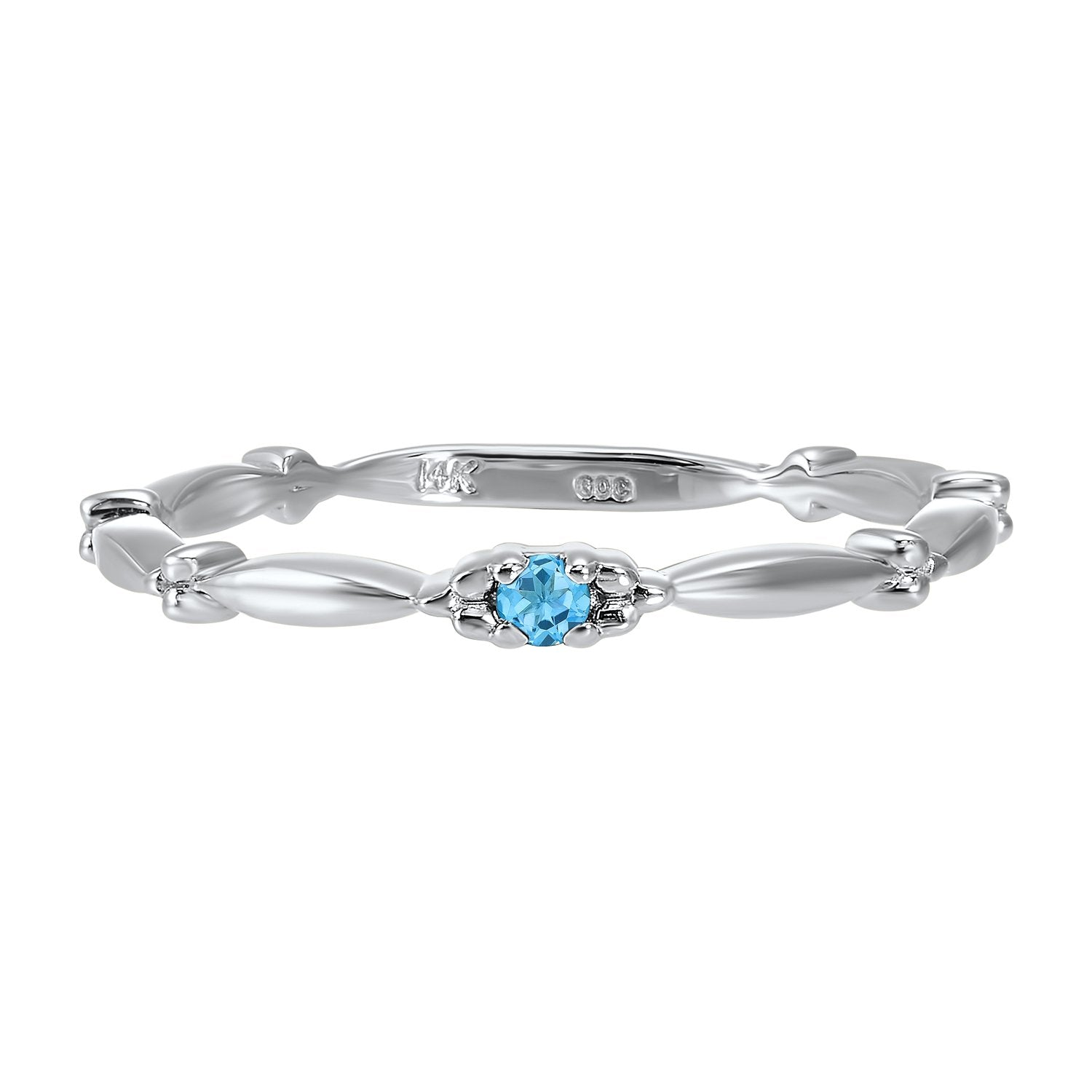 10K White Gold Stackable Prong Blue Topaz Band