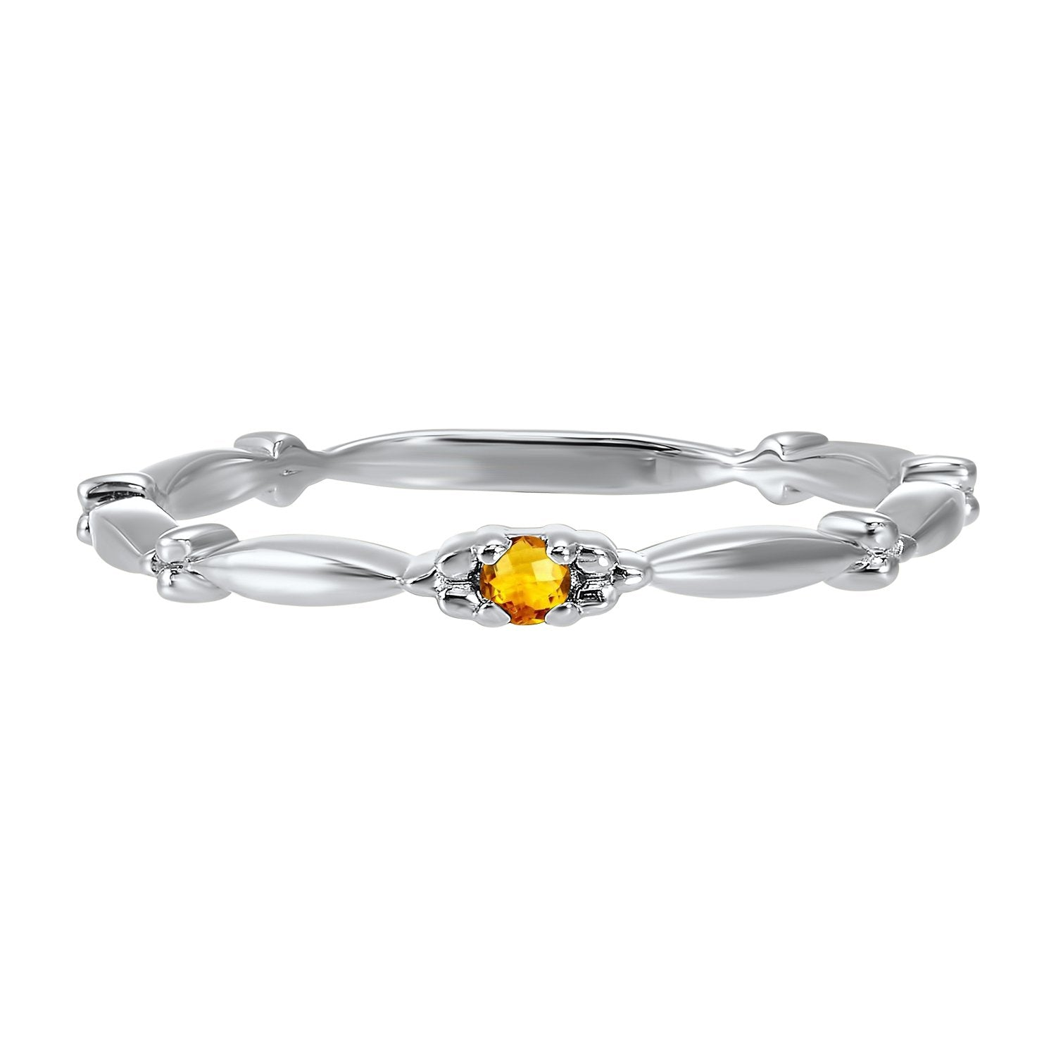 10K White Gold Stackable Prong Citrine Band