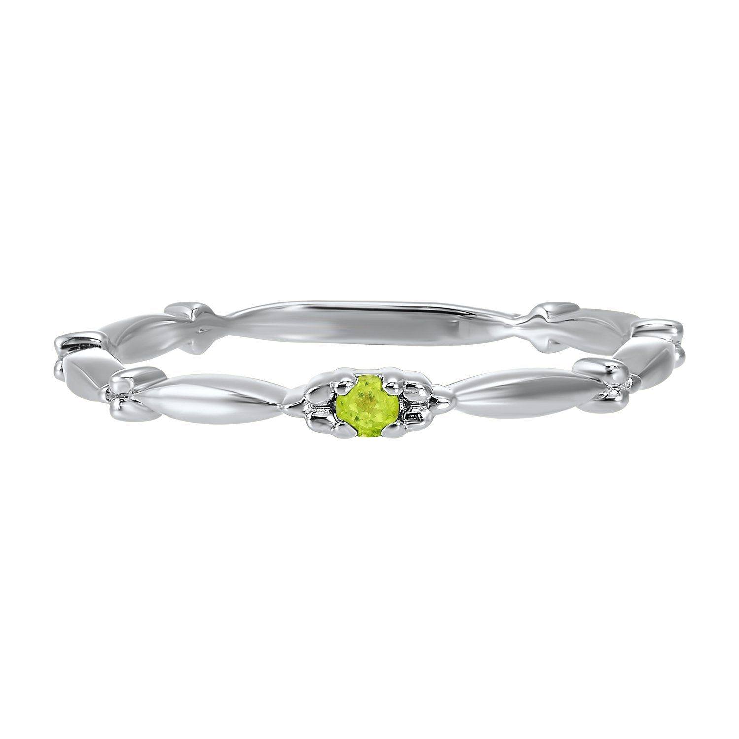 10K White Gold Stackable Prong Peridot Band