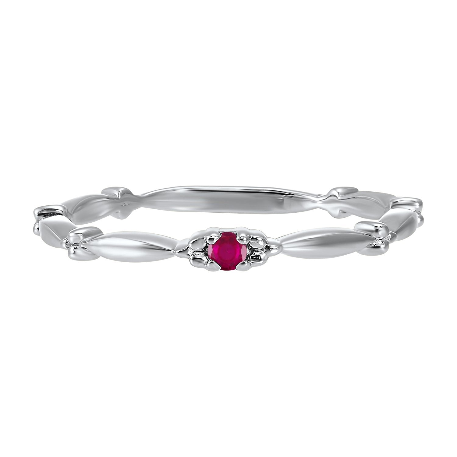 10K White Gold Stackable Prong Ruby Band