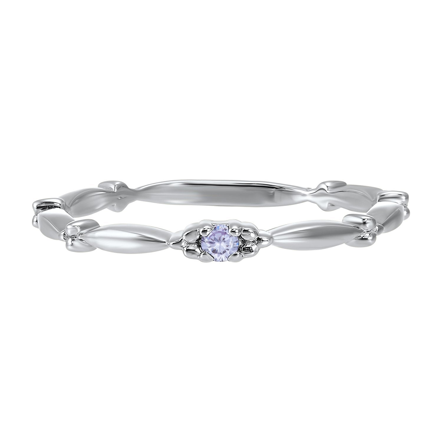 10K White Gold Stackable Prong Alexandrite Band