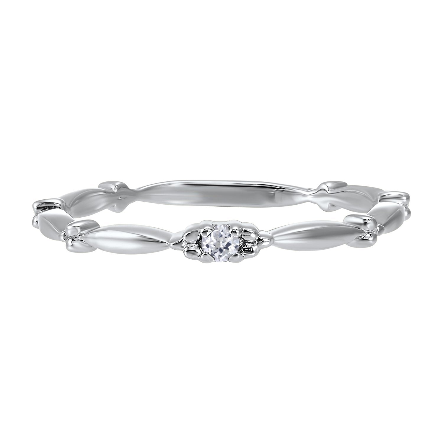 10K White Gold Stackable Prong White Topaz Band