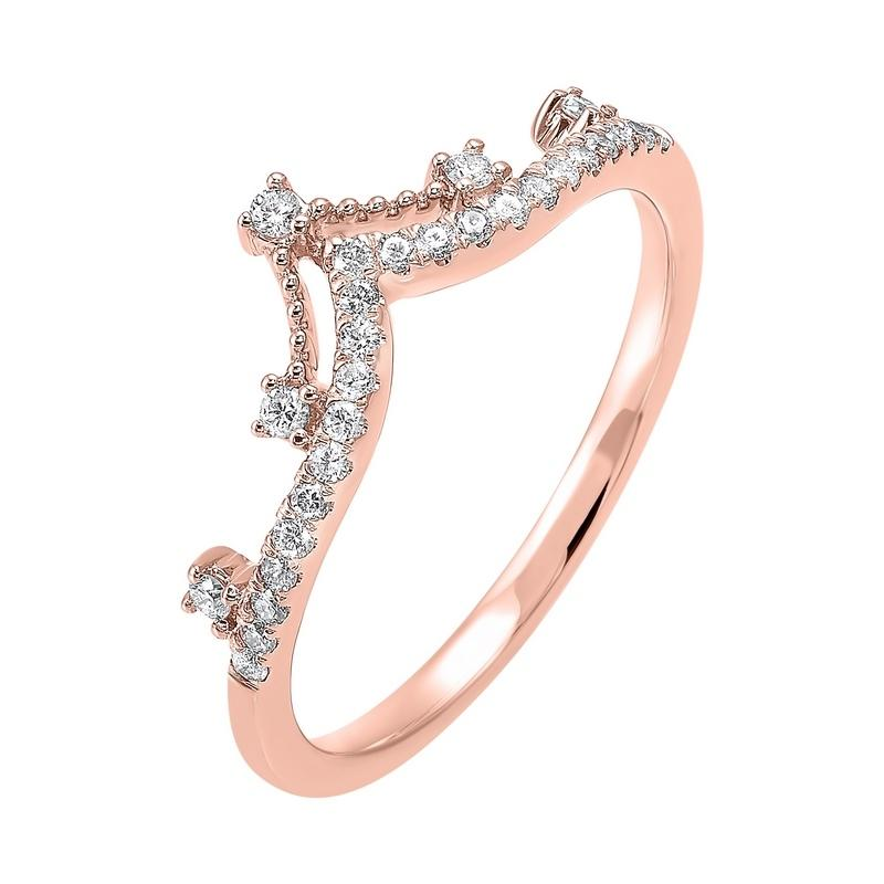 10K Rose Gold Stackable Prong Diamond Band (1/5 ct. tw.)