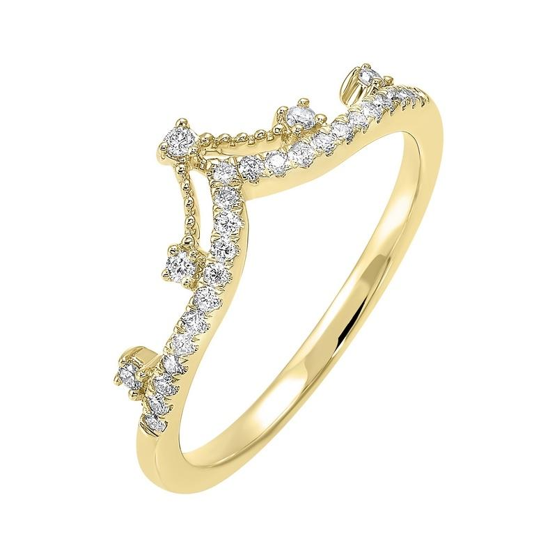 10K Yellow Gold Stackable Prong Diamond Band (1/5 ct. tw.)