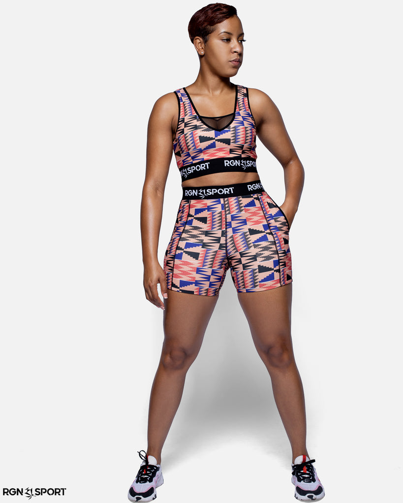 HIIT Pink Kente Sports Bra