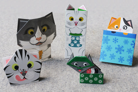 Ori Cat Origami Postcard Set