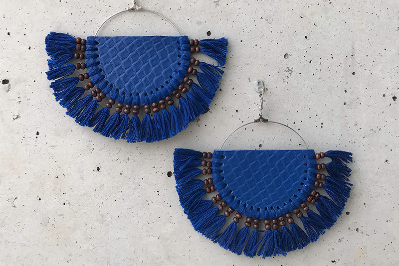 Blue Leather Tassel Earrings - Large