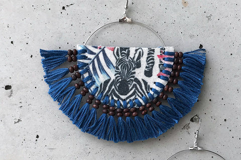 Blue Zebra Tassel Earrings