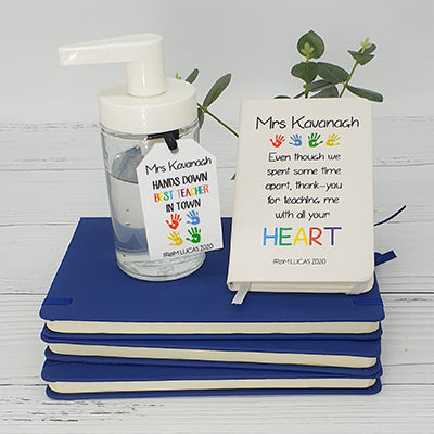 Teachers journal and hand sanitiser gift pack