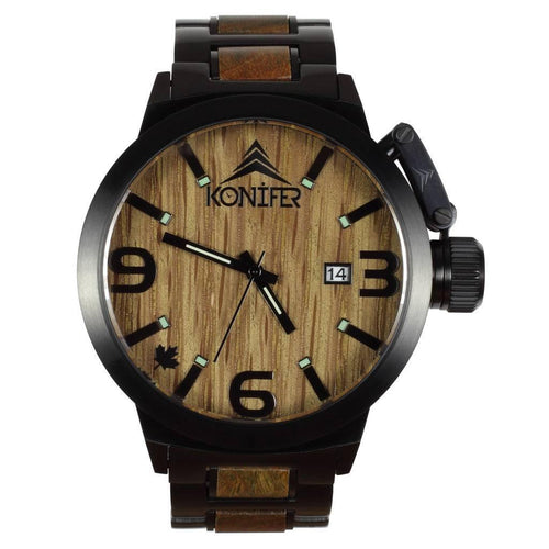 Karbon  Black Matte Stainless + Green Sandalwood - Konifer Watch