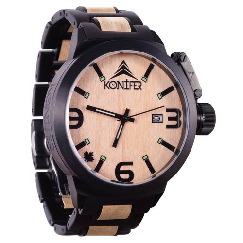 Karbon Black Matte Stainless +  Érable - Konifer Watch