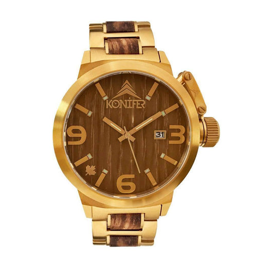 Karbon OR 24K + Zebrawood - Konifer Watch