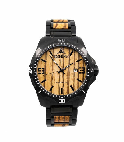 Klassic Black Stainless Zebra - Konifer Watch