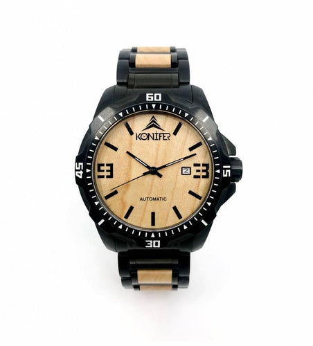 Klassic Black Stainless Maple - Konifer Watch