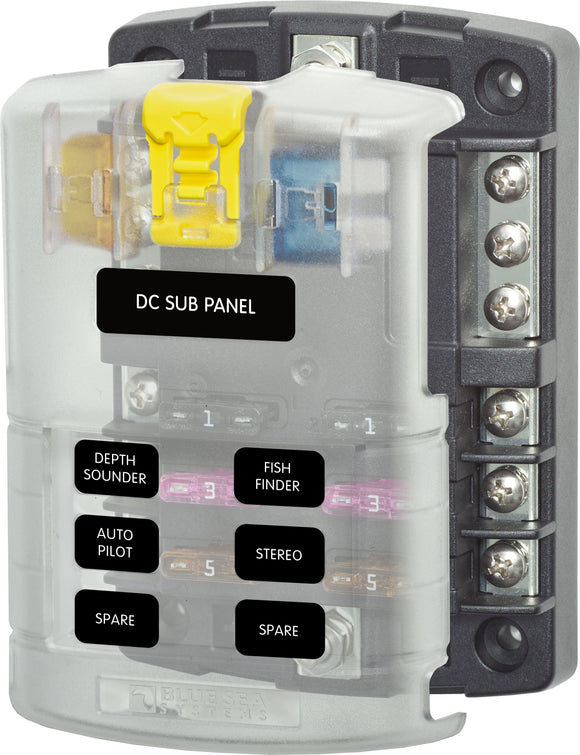 Blue Sea ST Blade Fuse Block 5025 - 6 Circuits with Negative Bus and Cover