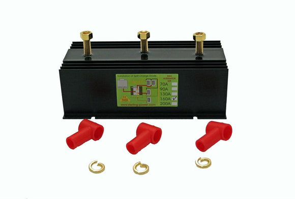 ProSplit D - 160 Amp 2 Output Marine Battery Isolator - Low Volt Drop Split Charge