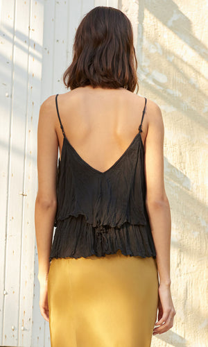 Mes Demoiselles Black Top in Crinkled Cotton