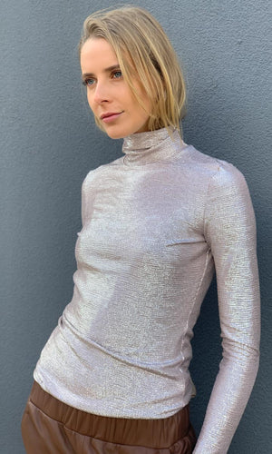 Silver Blush Metallic Turtleneck