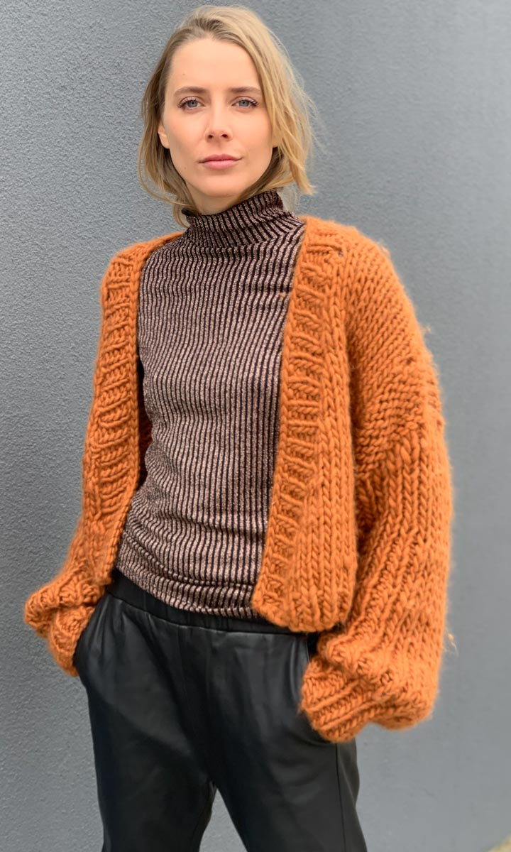 MAROSTICA Hand Knitted Ocre  Cardigan