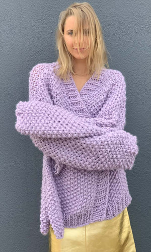 MAROSTICA Hand Knitted  Lilac Cardigan