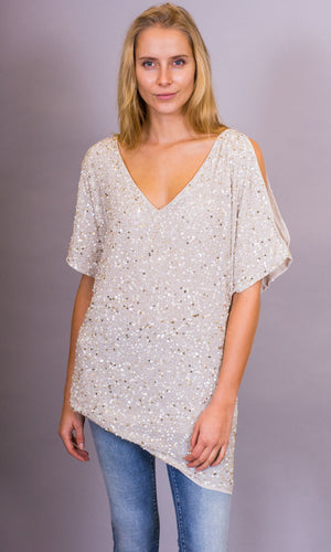 St Helene Fully Beaded  Long Top - HOSS