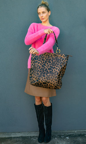 HOSS Animal Print Leather Tote