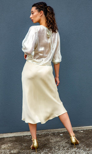HOSS Lurex Tie Up Top - Pale Gold