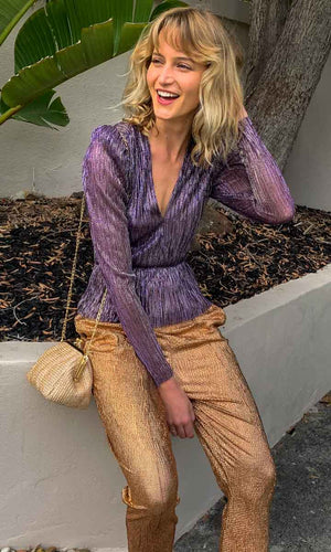 Sabina Musayev Samantha Lurex Purple Top - HOSS