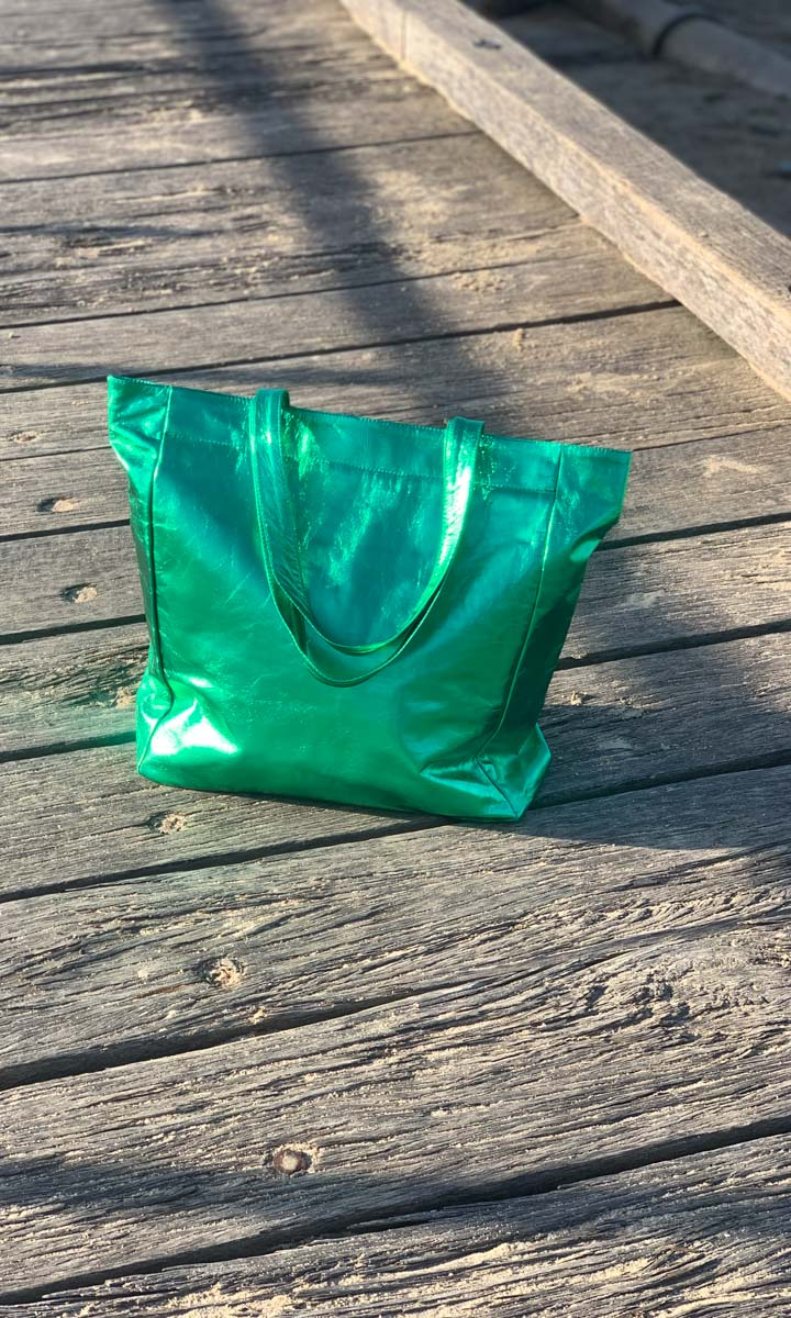 Hoss Metallic Green Leather Tote