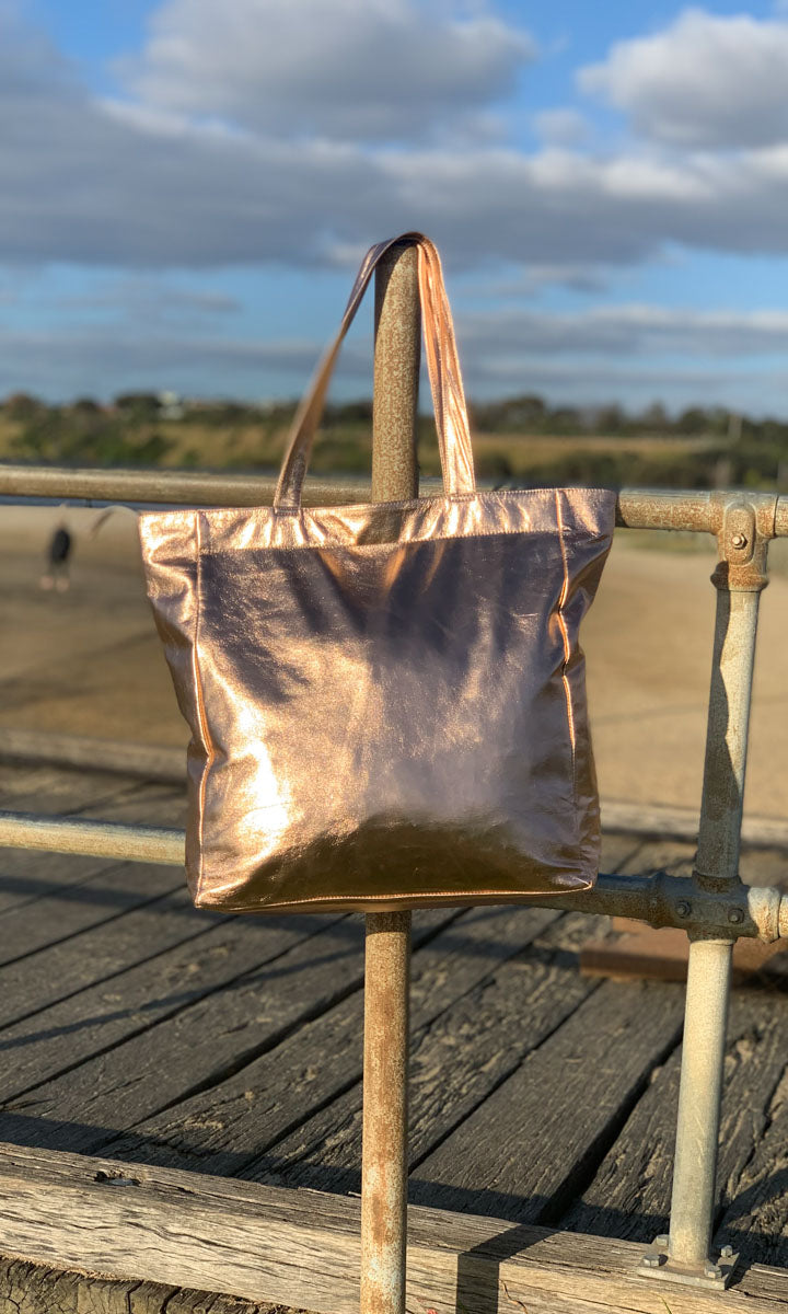 Hoss Metallic  Rose Gold Leather Tote