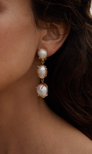 Christie Nicolaides Sandrine Gold & Pearl Earrings