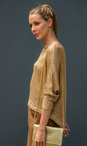 HOSS  Gold Batwing Knit