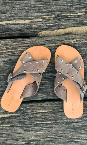HOSS Natural Cross Stud Sandals