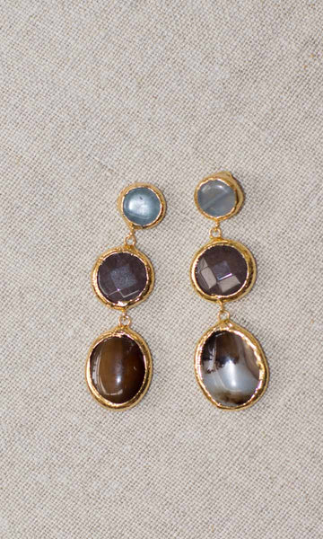 Gold Plated 3 Stone Earrings - HOSS