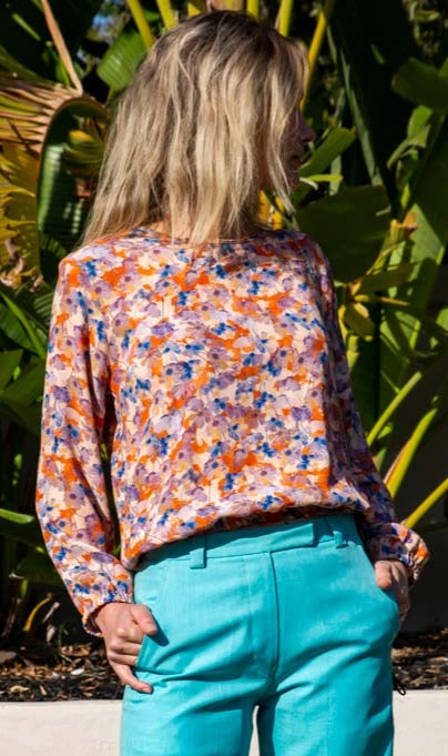 Hoss Multi Orange Floral Flix  Top
