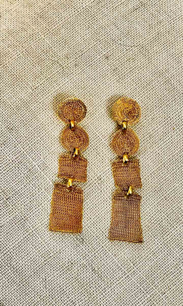 Milano Gold Mesh Panel Drop Earrings - HOSS