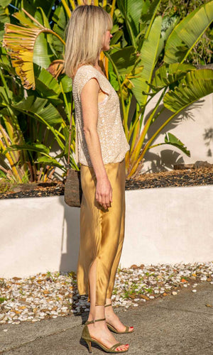 NOT SHY Silk Gold Bronze  Skirt